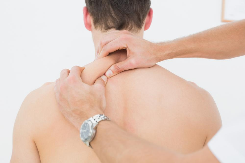 Man receiving shoulder pain relief in Fayetteville, NC